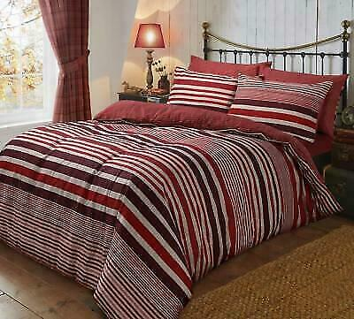"""Cosysoft"" Flannel Stripe Grey Double Duvet Set Brush Cotton Fully Reversible"