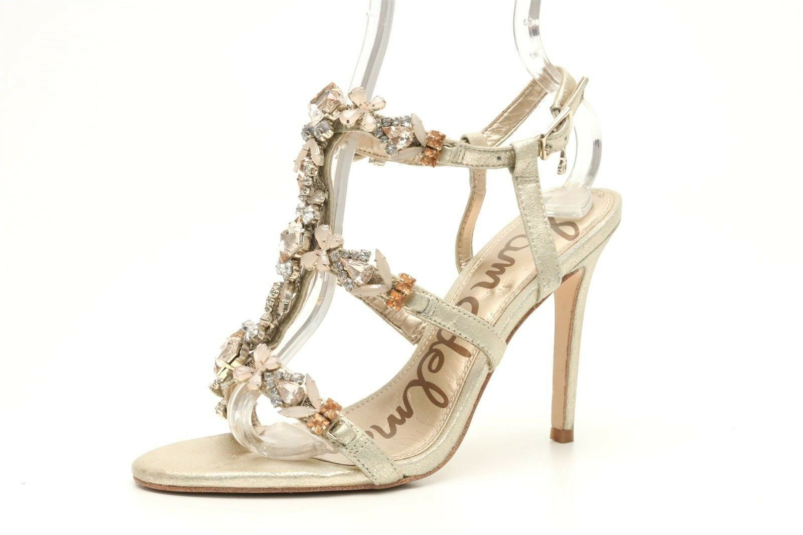 Womens SAM EDELMAN gold jeweled strappy ankle strap sandals sz. 6 M  160