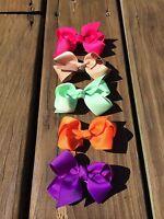 Hair Bows Set Of Five Fuchsia, Tan, Mint, Orange, Purple