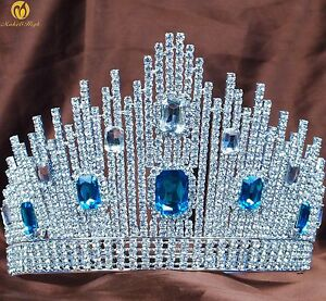 Image is loading Beauty-Pageant-Tiara-Blue-Crystal-Crown-Rhinestone-Wedding- 7d44edbe87d6