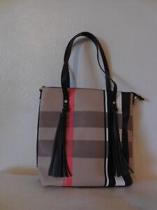 Neue Mode Kunstleder Schulter Einkaufen Purce amp; Tragen Tote Plaid Handtasche qFaRqg