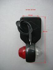 Begrenzungsleuchte Umrissleuchte für Anhänger Oval Rot + Weiß LED 12V/24V Links