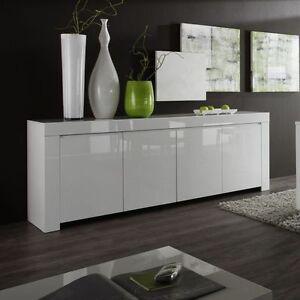 Mobile moderno Buffet Credenza Laccato Lucido Bianco Madia 4 ante ...