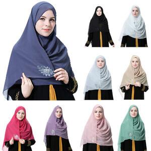Muslim-Women-Hijab-Beaded-Chiffon-Scarf-Headwear-Islamic-Arab-Shawls-Wraps-Stole