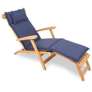 auflage f r deckchair liege liegestuhl 186 x 45 cm sitzkissen waschbar blau ebay. Black Bedroom Furniture Sets. Home Design Ideas