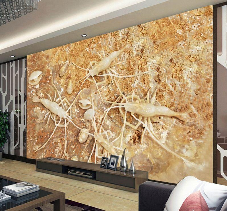 3D Plage Crevette 7 Photo Papier Peint en Autocollant Murale Plafond Chambre Art