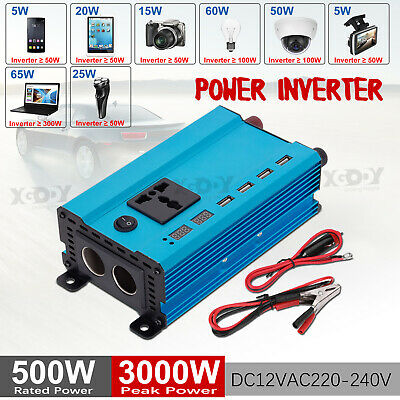 Power Inverter 3000W//5000W 12V-110//130VModified Sine Wave Car Plug Cable 4 USB