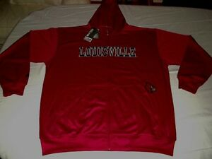 Louisville-Cardinals-Hoodie-2XL-Therma-Base-Full-Zip-Delay-Red-Majestic-NCAA