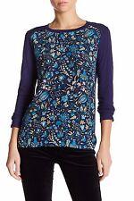 New JOE FRESH Sz M Crew Neck Navy Blue Long Sleeve Floral Print Blouse Top