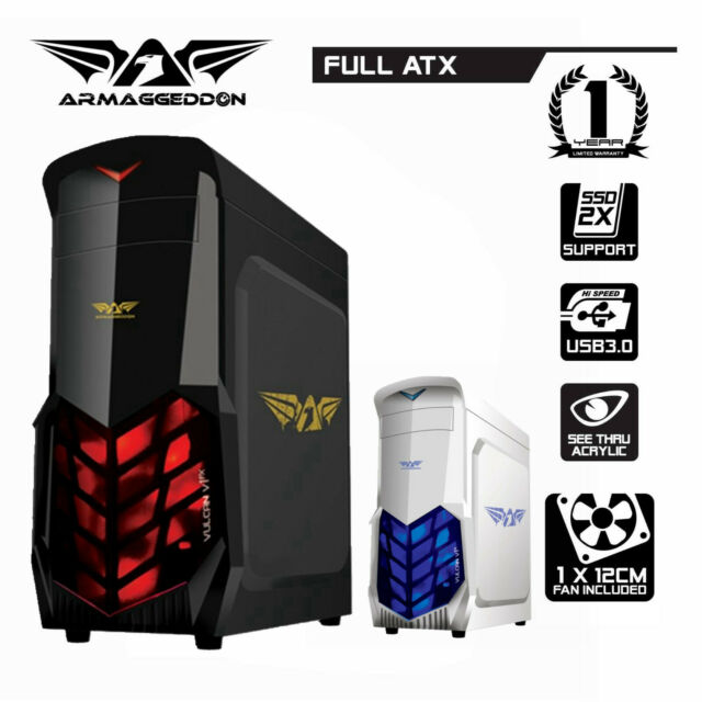 PC Case Gaming Tower Armaggeddon Vulcan V1X LED Fan Computer Case Full ATX