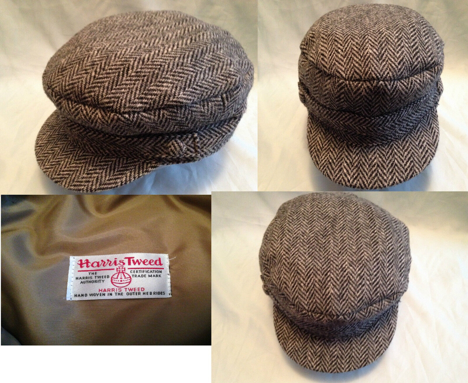 HARRIS TWEED GREY HERRINGBONE BRETON SAILING BARGE CASTRO  FIDDLER  SAILOR CAP  select from the newest brands like