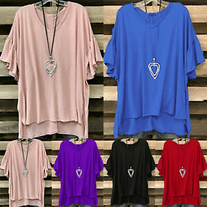 Womens-Loose-Short-Sleeve-T-Shirt-V-Neck-Casual-Basic-Tunic-Tops-Long-Blouse-Tee