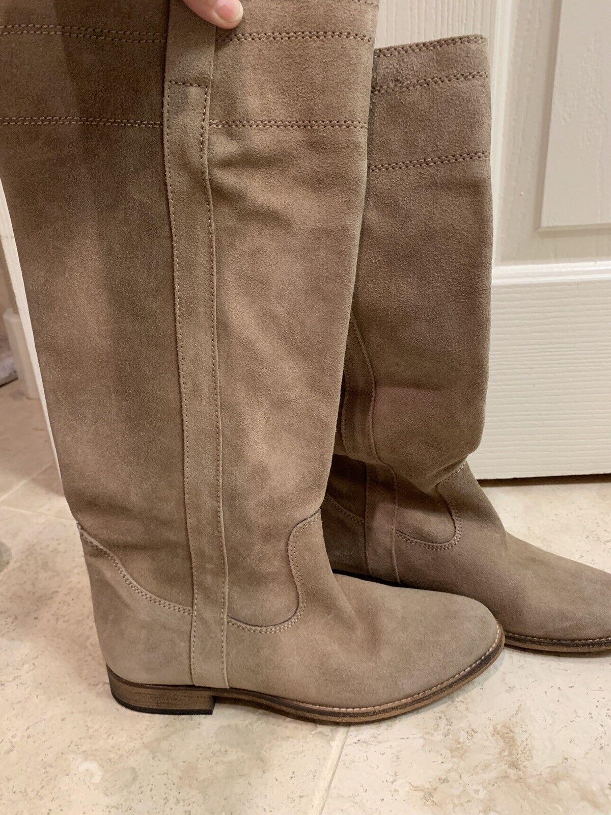 Nuevo sin etiquetas Color Color Color Beige Gamuza hasta la rodilla alta botas talla 8  350 781258