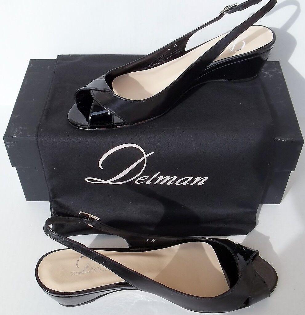 Delman Calla Black Calfskin & Patent Leather Slingback Sandal Retail  328
