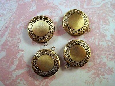 4 Antique Bronze Round Lockets G079 Jewelry Finding
