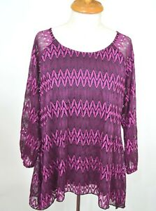 NEW New Directions Petite Womens Blouse Top 3/4 Sleeve Lined Pullover Purple