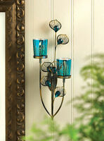 Peacock Plume Candle Holder Wall Sconce Decor10015948
