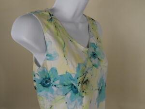 Jamaica-Bay-Tank-Top-Size-PM-Medium-Petite-Sleeveless-Floral-Cotton-Women-Creme