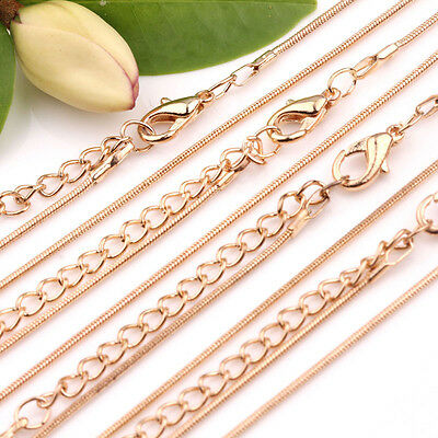 Wholesale 2/10PCS Lots 1MM Gold Plated Snake Chain Jewelry Necklace 48cm