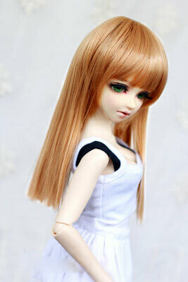 "6-7/"" 1//6 BJD Long Charm Lightest Brown Mellow Auburn Buckle Tips Wig Doll Hair E"