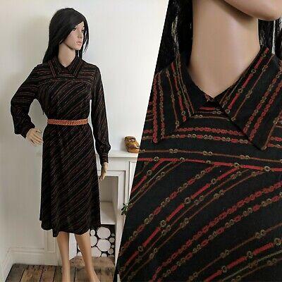 Vintage 70/'s Dress Maxi Evening Boho Disco Party Black A-line UK1214 EU38