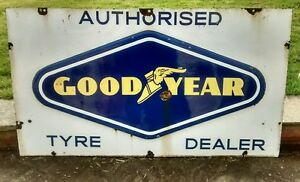 GOODYEAR TYRES ENAMEL SIGN VINTAGE RAISED DIAMOND CLASSIC CAR GARAGE - <span itemprop='availableAtOrFrom'>Bognor, United Kingdom</span> - GOODYEAR TYRES ENAMEL SIGN VINTAGE RAISED DIAMOND CLASSIC CAR GARAGE - Bognor, United Kingdom