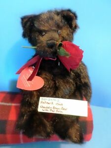 Hallmark-Chocolate-Brown-Teddy-Bear-with-Red-Rose-Beanbag-Plush-310-2474-2