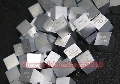 High Purity 99.9% Pure Chromium Metal Cr Carved Element Periodic Table 10mm Cube