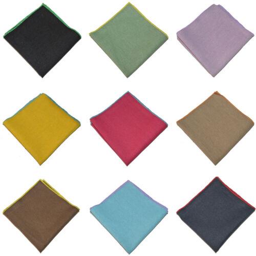 Men Solid Candy Color Pocket Square Linen Cotton Rolled Edge Handkerchief Hanky