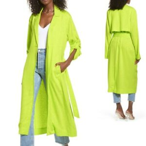 AFRM NWT Womens M Hendrix Belted Duster in Printed Lime Green Vented