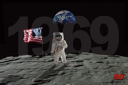 50th Anniversary of Moon Landing by Bob Downs 18x12 Graphic Art Print Poster