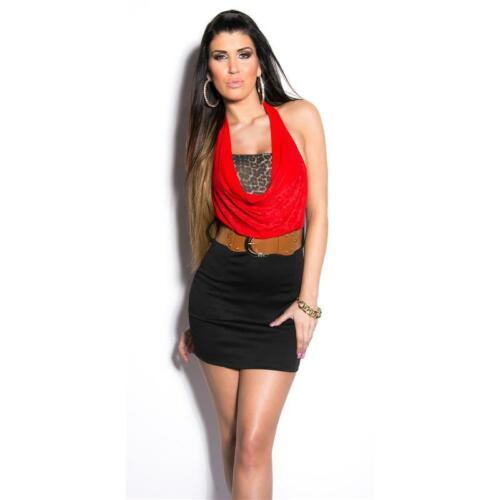 Élégant 2-in-1 Mini-robe dos-nu avec ceinture rouge//noir 34//36//38 #mk2358