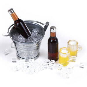 Beer-Bottle-Bucket-Ice-Cube-Cups-Play-Dollouse-Food-Furniture-Toy-1-12-Scale