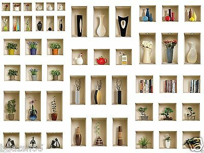 SET 3 ART WALL STICKERS 3D TILE DECALS PICTURE REMOVABLE VINYL HOME DECOR MURAL