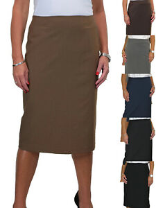 Womens-Below-Knee-Lined-Pencil-Skirt-Back-Pleated-Vent-Office-Day-8-20