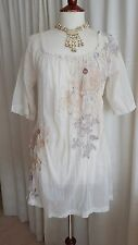 US Designer 3J Johnny Was Embroidered Tunic Top Cream Ivory Gold Muslin S 10