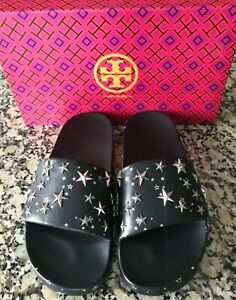 310719423 NEW TORY BURCH STAR SLIDE SANDALS FLIP FLOPS PERFECT NAVY LEATHER ...