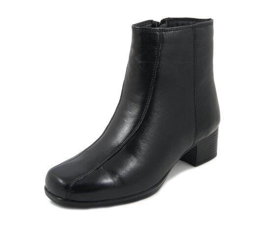 Stivaletti femmes Comfort Pianta Larga in Pelle noir Tacco Basso 4 cm, Kelidon