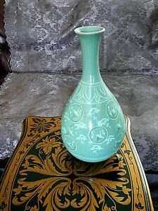 "Korean Celadon 12"" Crackle Vase Flying Cranes and Clouds Vase Signed Impeccable"