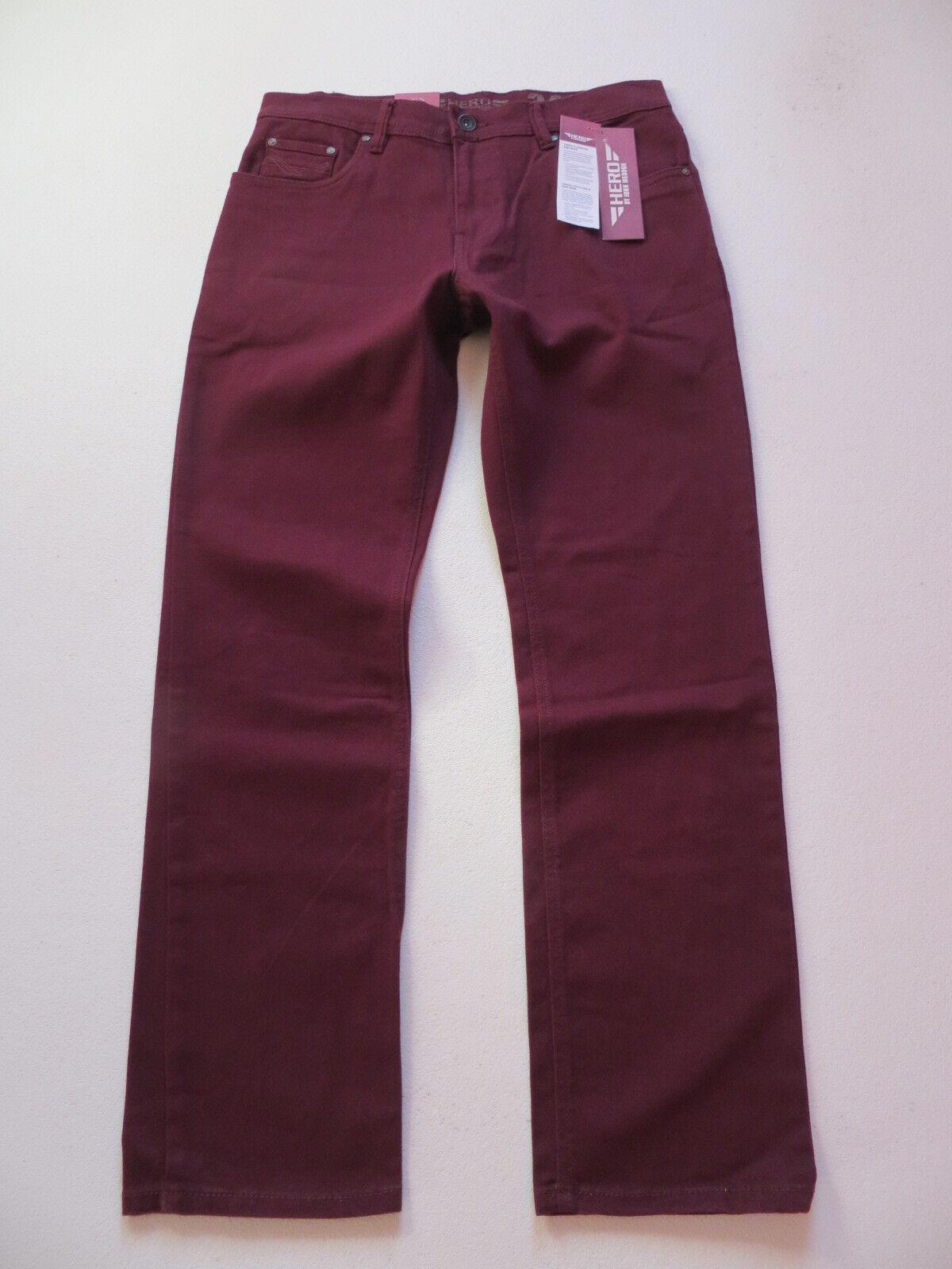 HERO John Medoox DENVER Stretch Jeans Hose W 34  L 32, wine, Bordeaux-red, NEU