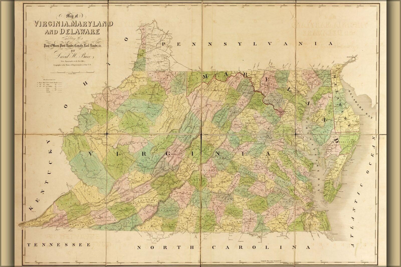 Poster, Many Größes; Map Of Virginia, Maryland, Delaware 1839
