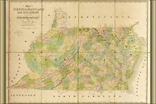 Many Sizes; Map Virginia Delaware Maryland West Virginia 1864 Poster