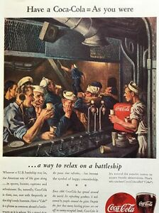 1944-Vintage-Coke-WWII-Battleship-Soda-Fountain-Ad-Soldiers-Drinking-Coca-Cola