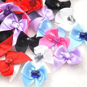 200 40 20pcs Satin Ribbon Bows W rhinestone Appliques Craft Wedding ... 4b723060eea8