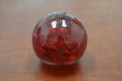 """REPRODUCTION CRACKING RED GLASS FLOAT FISHING BALL WITH HOLE 3/"""" #F-459CH"""