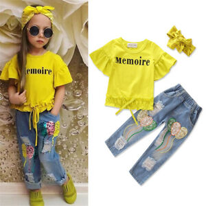 Fashion-Toddler-Kid-Girl-Clothes-Baby-Cotton-Tops-T-Shirt-Denim-Pants-Outfit-Set
