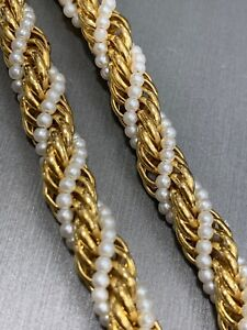 "Vintage Round woven imitation pearl Twisted Gold Chain beaded Necklace 30""Long"