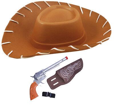 Adulti Marrone EVA Cappello Da Cowboy Toy Story pistola di plastica con cintura nera 2 PZ Set