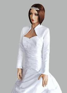 New Womens Wedding Satin Jacket Bridal Wrap Shrug Bolero Coat Shawl ... 1370407f92fb
