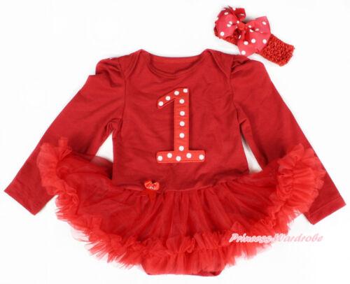 XMAS Baby Girl Red White Dot 1ST Red Long Sleeve Bodysuit Red Pettiskirt NB-18M